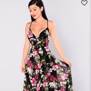 Botanical Tropical Dress Fashion Nova
